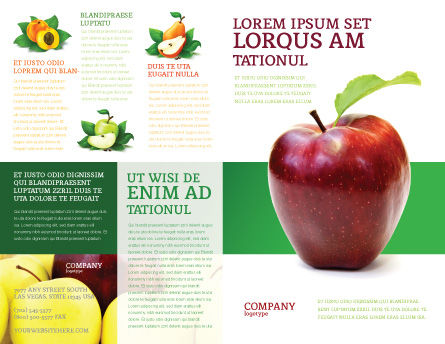 Red Apple Brochure Template, Outer Page, 03041, Agriculture and Animals — PoweredTemplate.com