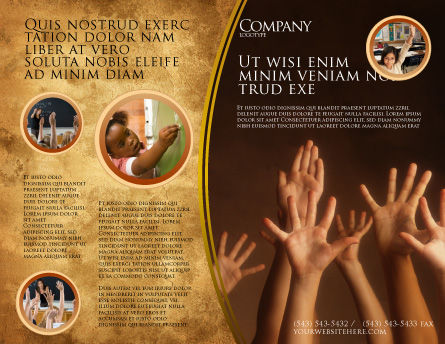 Hands Up Brochure Template, Outer Page, 03060, Education & Training — PoweredTemplate.com