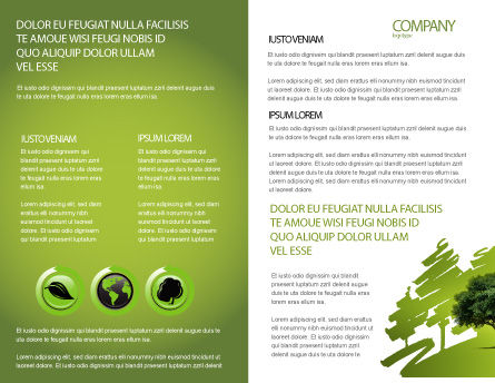 Green Tree On Light Olive Background Brochure Template, Inner Page, 03109, Nature & Environment — PoweredTemplate.com
