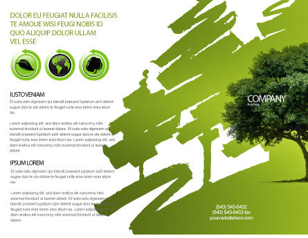 Green Tree On Light Olive Background Brochure Template, Outer Page, 03109, Nature & Environment — PoweredTemplate.com