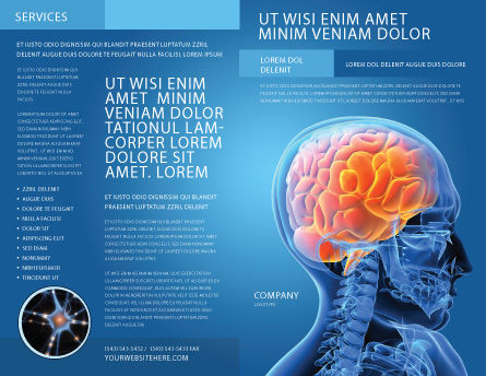 Brain In Skull Brochure Template, Outer Page, 03110, Medical — PoweredTemplate.com