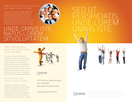 Hands Up Teenagers Brochure Template, Outer Page, 03124, People — PoweredTemplate.com