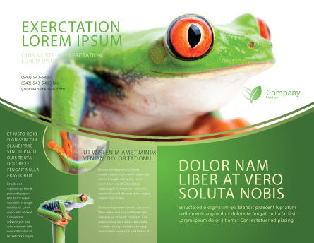Tropical Green Frog Brochure Template, Outer Page, 03160, Agriculture and Animals — PoweredTemplate.com