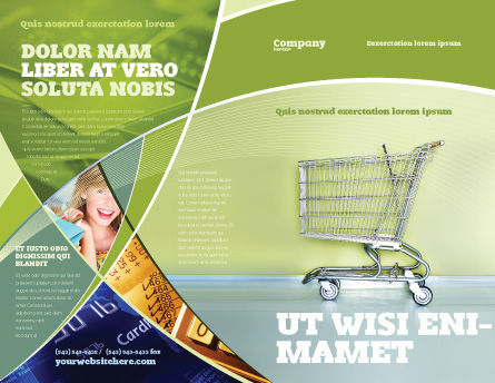 Shopping Cart On Olive Background Brochure Template Design And