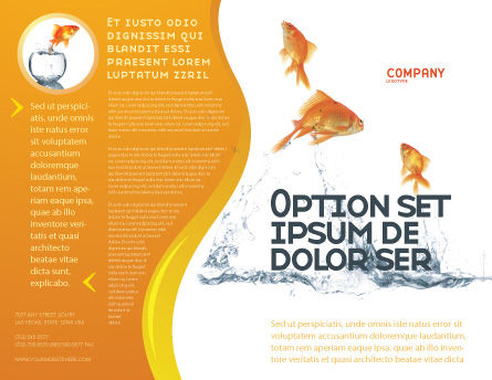 Jumping Goldfish Brochure Template, Outer Page, 03286, Agriculture and Animals — PoweredTemplate.com