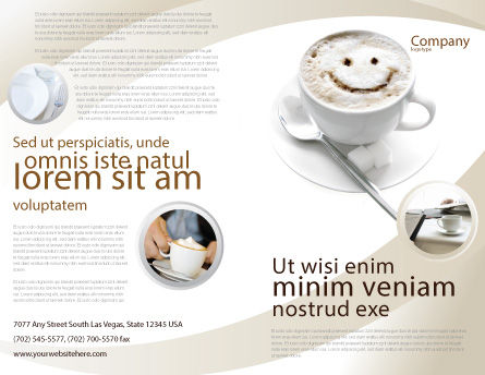Cappuccino Cup Brochure Template, Outer Page, 03298, Food & Beverage — PoweredTemplate.com