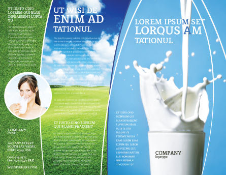 Glass Of Milk Brochure Template, Outer Page, 03357, Food & Beverage — PoweredTemplate.com