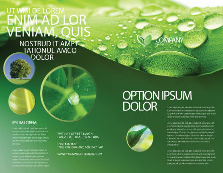 Fresh Dew On The Green Leaf Brochure Template, Outer Page, 03376, Abstract/Textures — PoweredTemplate.com