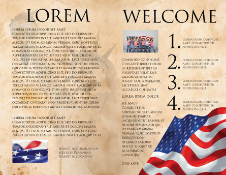 American Stars and Stripes Flag Brochure Template Inner Page