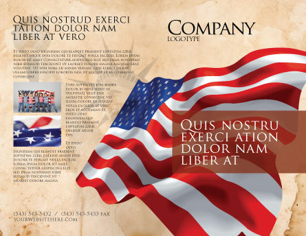 American Stars and Stripes Flag Brochure Template Outer Page