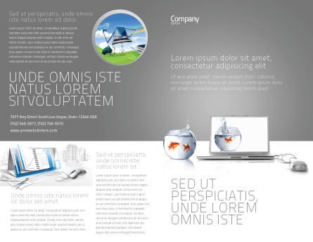 Multimedia Laptop Brochure Template, Outer Page, 03402, Business Concepts — PoweredTemplate.com