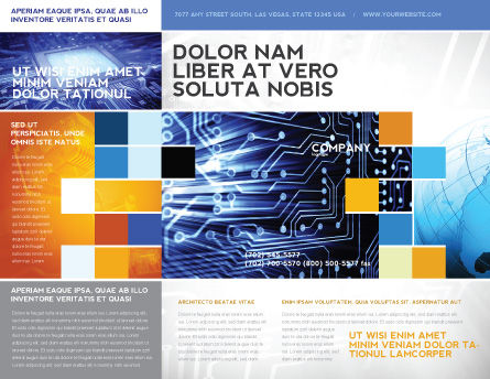 Circuit Board Brochure Template, Outer Page, 03422, Technology, Science & Computers — PoweredTemplate.com