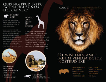 Lion With Red Mane Brochure Template, Outer Page, 03428, Agriculture and Animals — PoweredTemplate.com