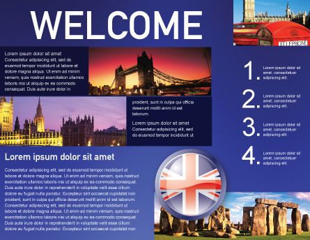 United Kingdom Brochure Template, Inner Page, 03448, Flags/International — PoweredTemplate.com