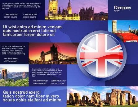 United Kingdom Brochure Template, Outer Page, 03448, Flags/International — PoweredTemplate.com