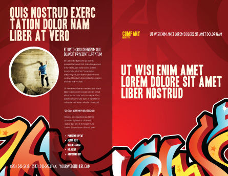 Graffiti Brochure Template, Outer Page, 03484, Art & Entertainment — PoweredTemplate.com