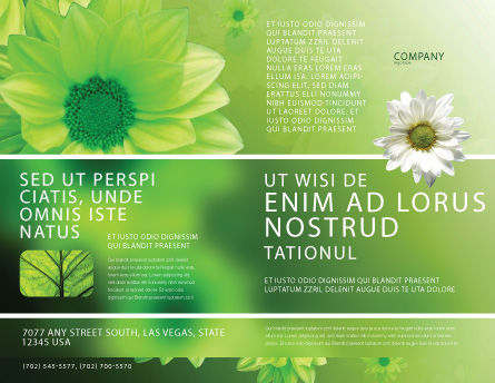 Green Flowers Brochure Template, Outer Page, 03594, Abstract/Textures — PoweredTemplate.com