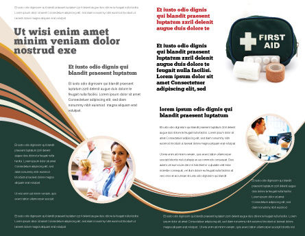 First Aid Set Brochure Template, Inner Page, 03596, Medical — PoweredTemplate.com