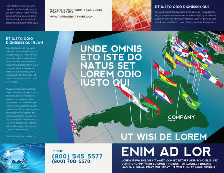 South and Central America Brochure Template, Outer Page, 03615, Flags/International — PoweredTemplate.com