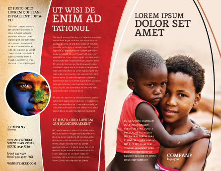 Refugees Brochure Template, Outer Page, 03619, People — PoweredTemplate.com