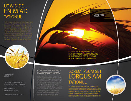 Spikelets Brochure Template, Outer Page, 03672, Agriculture and Animals — PoweredTemplate.com