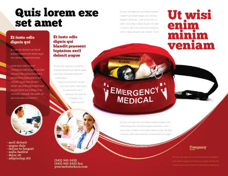 Medical Kit Brochure Template, Outer Page, 03674, Medical — PoweredTemplate.com