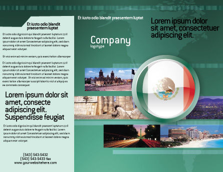 Mexico Brochure Template, Outer Page, 03681, Flags/International — PoweredTemplate.com