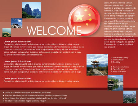 Flag of China Brochure Template, Inner Page, 03690, Flags/International — PoweredTemplate.com