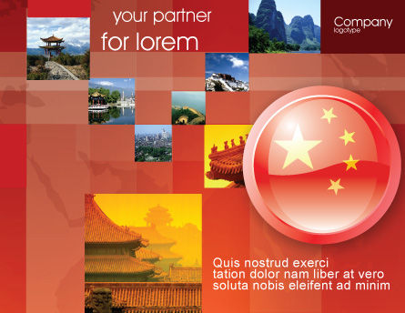 Flag of China Brochure Template, Outer Page, 03690, Flags/International — PoweredTemplate.com