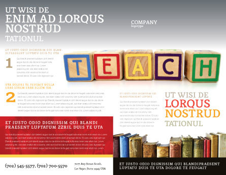 Teaching Brochure Template, Outer Page, 03696, Education & Training — PoweredTemplate.com