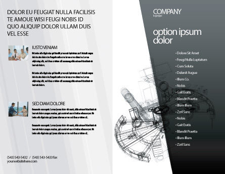 Construction Sketch Brochure Template, Outer Page, 03740, Construction — PoweredTemplate.com