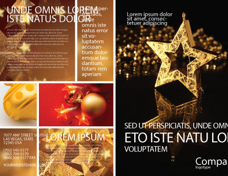 Gold Star Brochure Template, Outer Page, 03748, Holiday/Special Occasion — PoweredTemplate.com