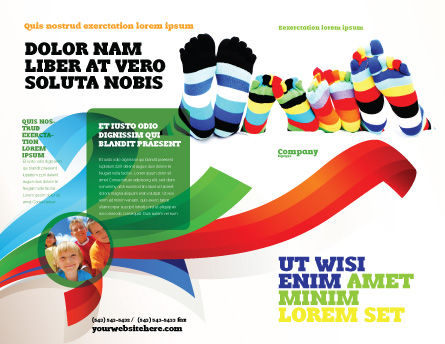 Rainbow Socks Brochure Template, Outer Page, 03760, General — PoweredTemplate.com