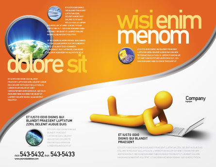 Orange Man With Laptop Brochure Template, Outer Page, 03773, Education & Training — PoweredTemplate.com
