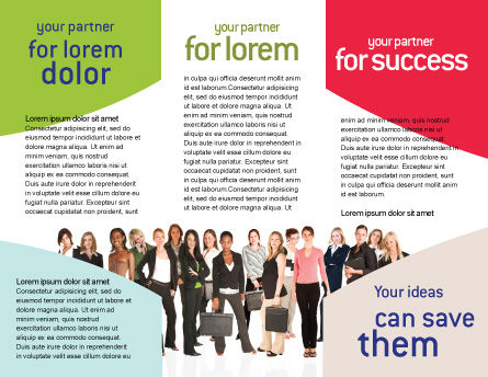 Business Ladies Brochure Template, Inner Page, 03813, People — PoweredTemplate.com