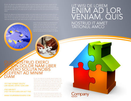 Real Estate Finance Puzzle Brochure Template, Outer Page, 03823, Construction — PoweredTemplate.com