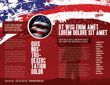 Torn Flag Brochure Template, Outer Page, 03827, America — PoweredTemplate.com
