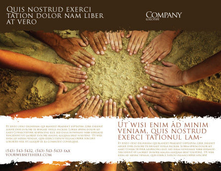 Unity Hands Touching Ground Brochure Template, Outer Page, 03911, Religious/Spiritual — PoweredTemplate.com