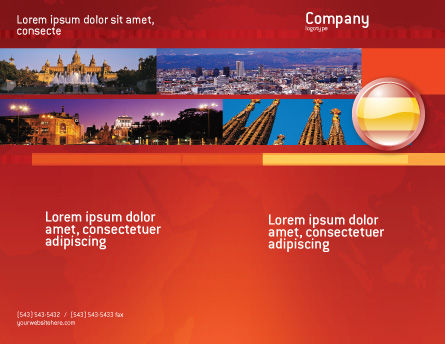 Flag of Spain Brochure Template, Outer Page, 03943, Flags/International — PoweredTemplate.com