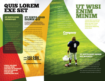 American Football in School Brochure Template Outer Page