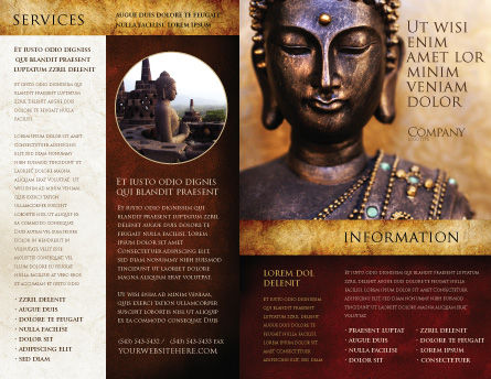 Buddha In Meditation Brochure Template, Outer Page, 03973, Religious/Spiritual — PoweredTemplate.com