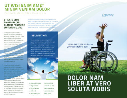 Handicapped Person Brochure Template, Outer Page, 03985, People — PoweredTemplate.com