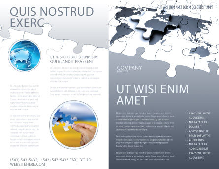 Map Fragments Brochure Template, Outer Page, 03989, Global — PoweredTemplate.com