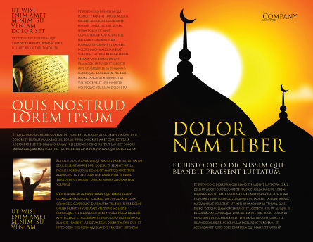 Mosques Brochure Template, Outer Page, 04019, Religious/Spiritual — PoweredTemplate.com