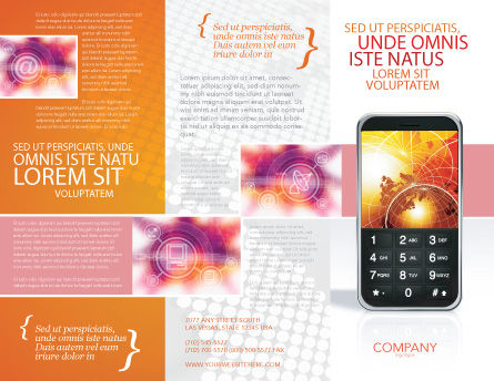 Cellular Phone In Orange Colors Brochure Template, Outer Page, 04021, Telecommunication — PoweredTemplate.com