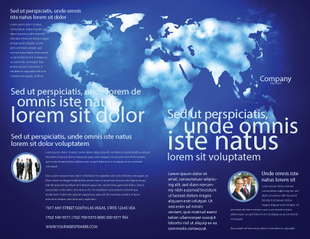 Wide World Blue Map Brochure Template, Outer Page, 04050, Global — PoweredTemplate.com