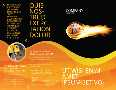 Flaming Basketball Brochure Template, Outer Page, 04054, Sports — PoweredTemplate.com