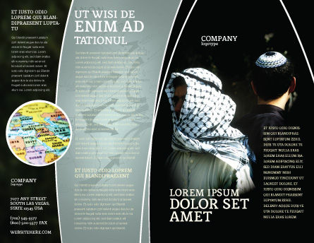 Arab-Israeli Conflict Brochure Template, Outer Page, 04064, People — PoweredTemplate.com