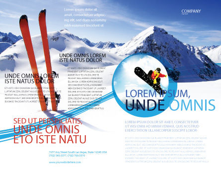 Skis Brochure Template, Outer Page, 04169, Sports — PoweredTemplate.com