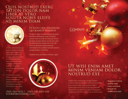 Red Christmas Theme Brochure Template, Outer Page, 04186, Holiday/Special Occasion — PoweredTemplate.com